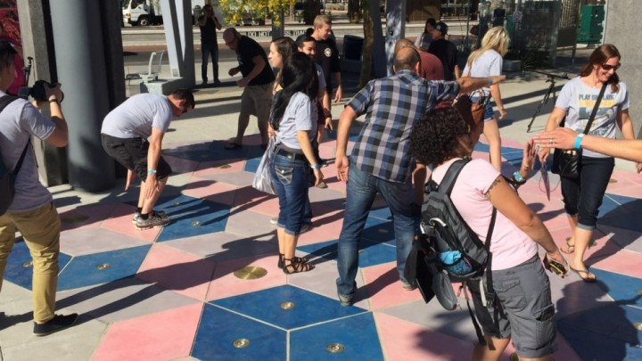 Interactive sidewalk plays music to your shadows