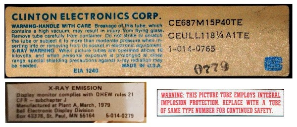 Safety warnings on the Alto monitor. CRTs pose danger from implosion, X-rays, and high voltage.