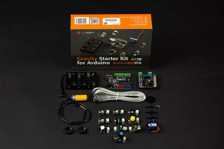 Gravity Starter Kit for Arduino: all you need is code!