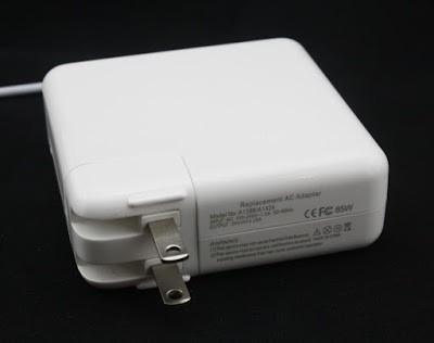 A cheap MacBook charger from eBay. Unlike most cheap chargers, this one doesn't pretend to be an Apple charger in the text.