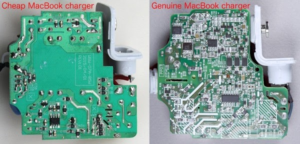 The cheap MacBook charger (left) uses very simple circuits compared to the genuine Apple charger (right), which is crammed full of components.