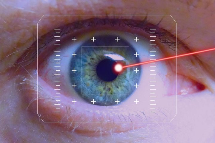 Don't look at laser with remaining eye