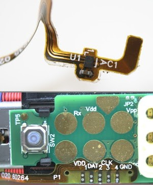 The pressure sensor on the toothbrush is connected to the electronics via a flexible cable. The sensor is probably a Hall effect magnetic sensor using the I2C protocol.