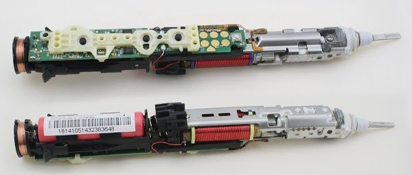 Inside the Sonicare toothbrush, top and bottom composite view. The charging coil is at the left. The battery (red) is in the lower left. The coil that vibrates the brush is in the center and the brushing mechanism is at the right.