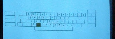 A closeup of the Alto's keyboard test programming. It highlights keys when they are pressed.