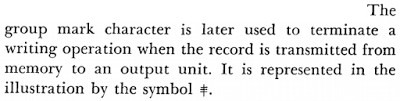 An explanation of the group mark character from an IBM 705 computer manual (1959).