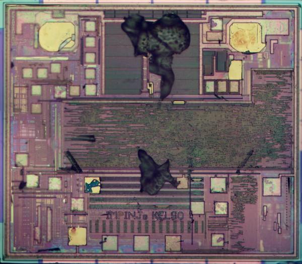 Die photo of the Monza R6 RFID chip.
