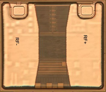 Die photo of the Monza R6 RFID chip from the datasheet. Most of the chip is obscured; the antenna contacts are visible at the top.