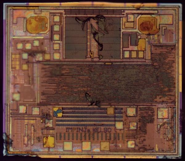 Die photo of the Impinj Monza R6 RFID chip.