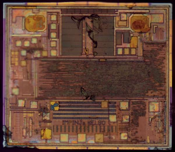 Inside a RFID race timing chip: die photos of the Monza R6