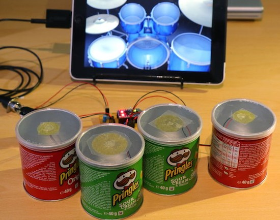 Turn mini Pringles cans into electronic drums