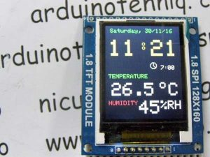 Adjusting clock with alarm, hygrometer & thermometer on 1.8″ ST7735 display