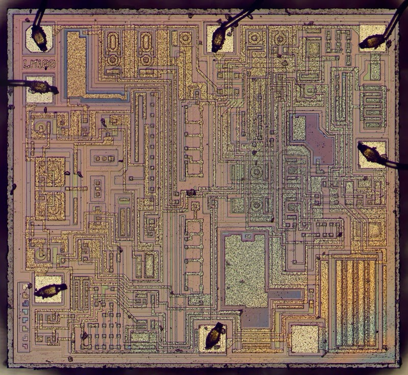 Die photo of the LM308 op amp. The LM308 is the commercial version of the LM108.
