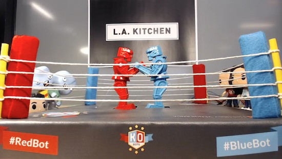 Control this Rock 'em Sock 'em Robots match with your tweets