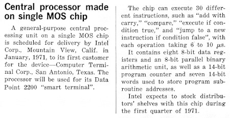 "The 8008 processor was first described publicly in ""Electronic Design"", Oct 25, 1970. Although Intel claimed the chip would be delivered in January 1971, actual delivery was more than a year later in April, 1972."