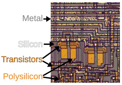 A closeup of the 8008 die, showing the metal layer, the polysilicon, and the doped silicon.
