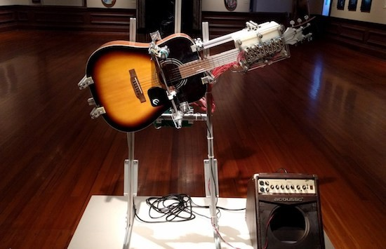 This guitar-playing robot performs American folk music