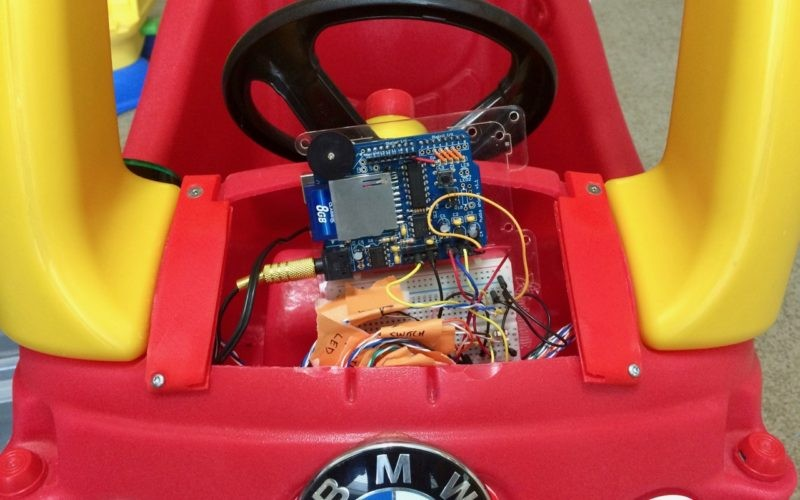 Cozy Coupe toy car retrofitted with Arduino 3