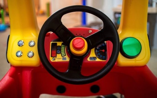 Cozy Coupe toy car retrofitted with Arduino