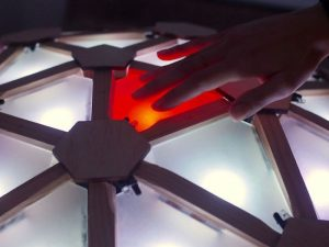 Interactive geodesic LED dome = extreme geometric fun!