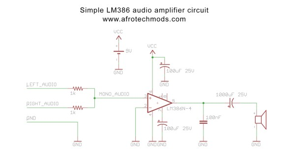 How to make a simple 1 watt audio amplifier (LM386 based)